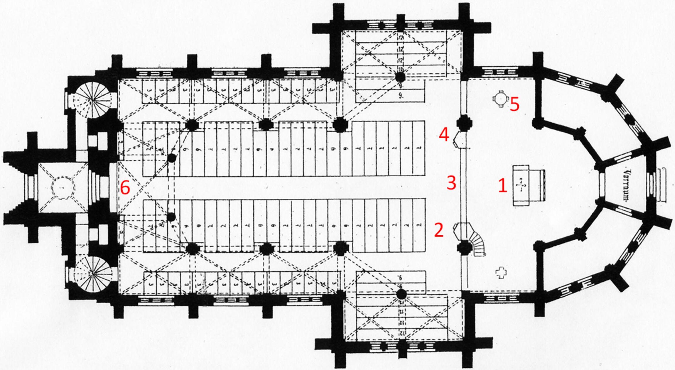 Grundriss (ohne Kapelle): Altar (1), Kanzel (2), Taufstein (3), Lesepult  (4), Chorgestühl (5), Orgel (6) / Bild: Archiv D. Apostelgemeinde